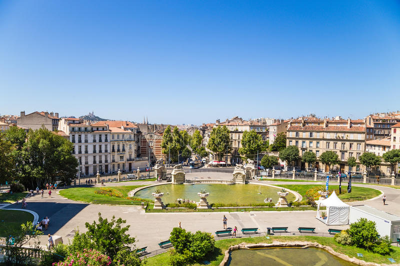 Marseille, France. The pond at the bottom of the Palace of Longchamp. The Palais Longchamp is a monument in the 4th arrondissement of Marseille, France. It stock photos