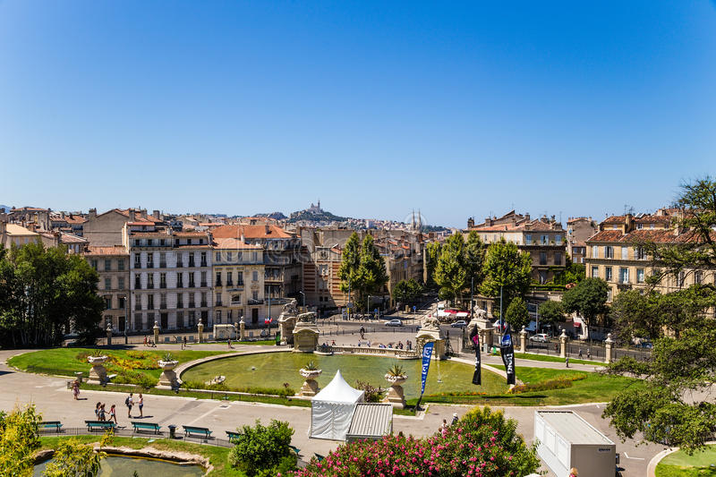 Marseille, France. Ponds Longchamp palace and view of the city. The Palais Longchamp is a monument in the 4th arrondissement of Marseille, France. It houses the royalty free stock image