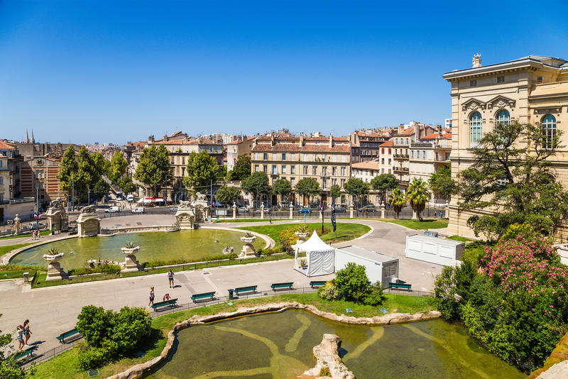Marseille, France. The ponds in the lower part of the palace Longchamp. The Palais Longchamp is a monument in the 4th arrondissement of Marseille, France. It stock images