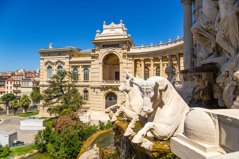 Marseille, France. The sculptures on the facade of the Palace Longchamp and cascading fountain, 1869. The Palais Longchamp is a monument in the 4th royalty free stock image