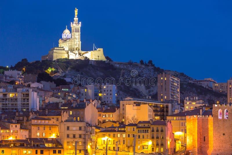 Marseille Francja noc obraz royalty free