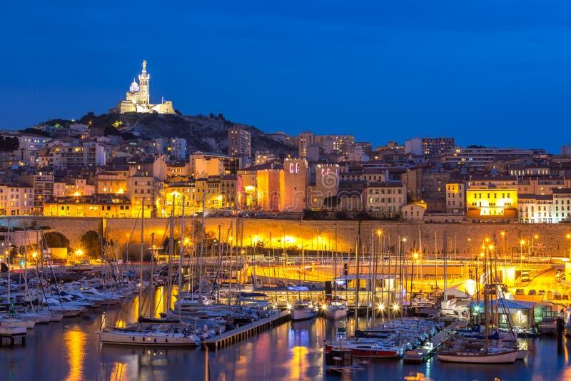 Marseille Francja noc zdjęcia royalty free