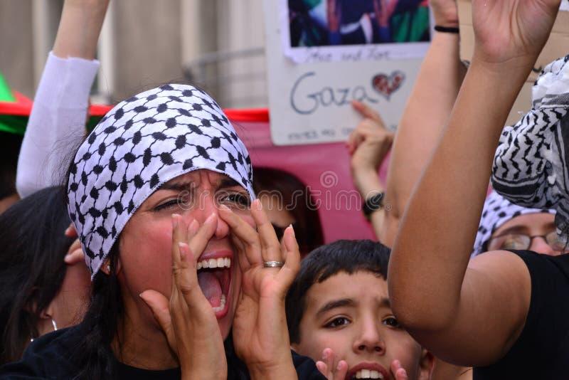 Marseille, Frankrijk - Augustus 9, 2014: De protesteerder verzamelt zich tijdens een demonstratie stock foto's
