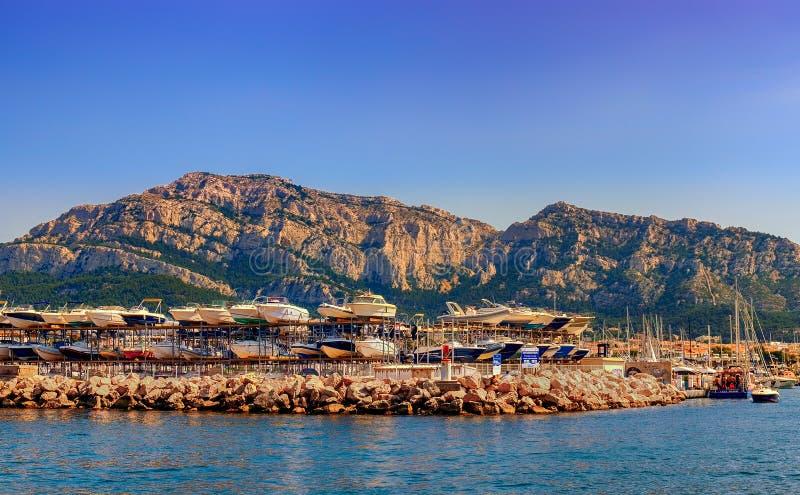 Marseille-Pointe Rougehaven royalty-vrije stock foto's