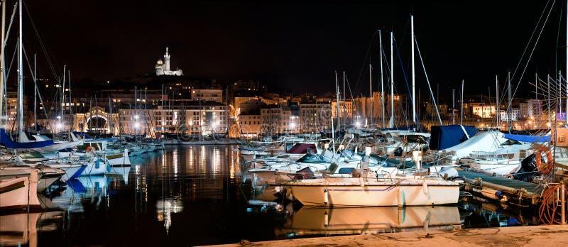 Marseille, przy noc Francja panorama schronienie fotografia stock