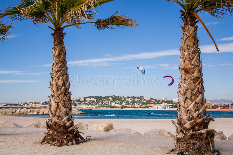 Marseille strand arkivbild