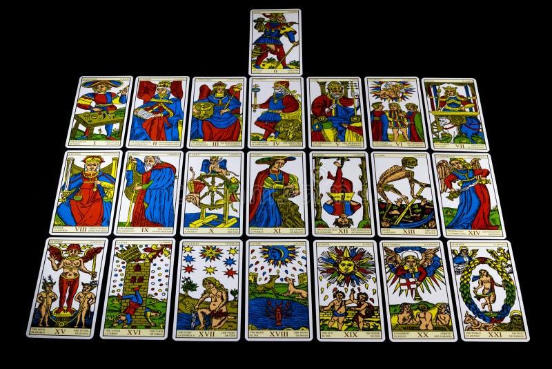 Marseille Tarot - Major Arcana. The Major Arcana from the Marseille Tarot cards isolated on a dark background stock photography