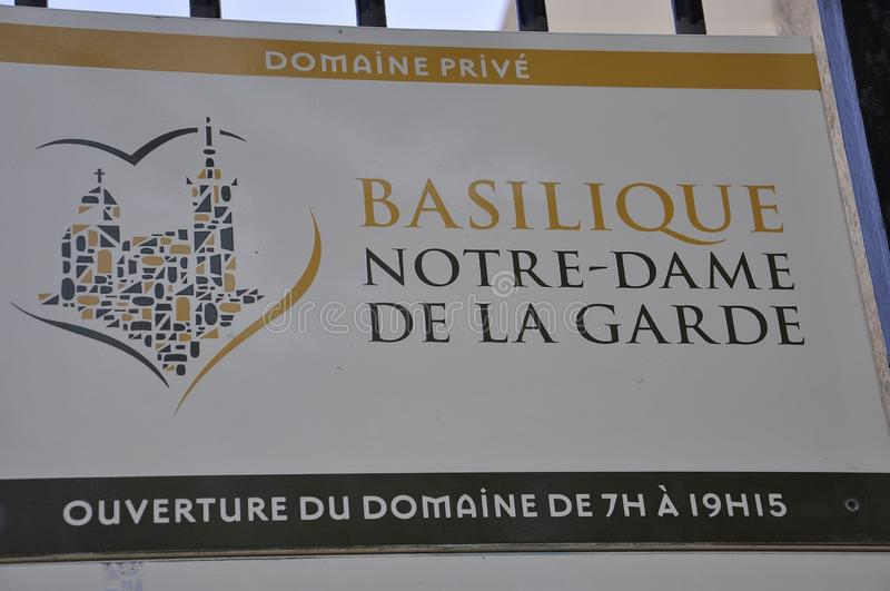Marseille, 7th september: The Signboard of Basilica Notre Dame de la Garde or Our Lady of the Guard from Marseille France royalty free stock photos