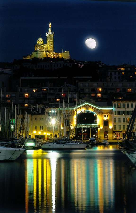 Marseilles harbour moon night royalty free stock photo