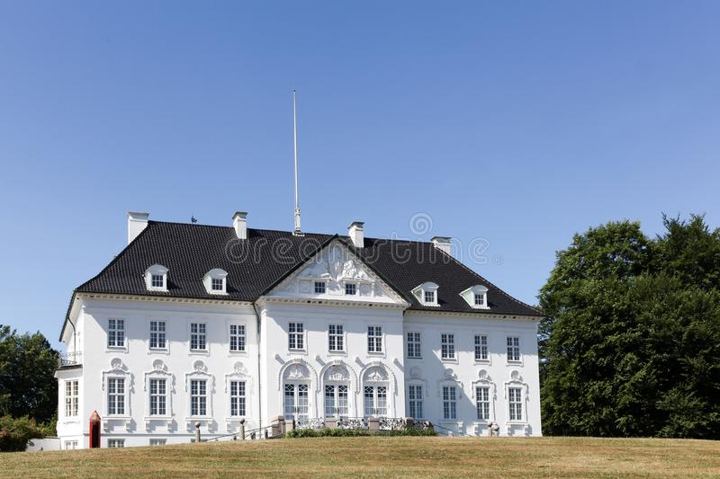 Marselisborg palace in Aarhus, Denmark. Marselisborg Palace is a royal residence of the Danish Royal family in Aarhus. It has been the summer residence of Queen royalty free stock photography