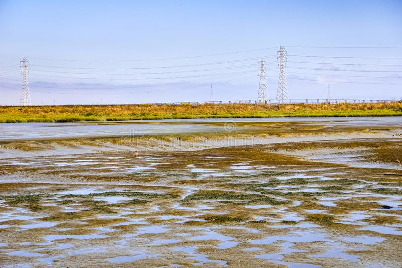 Marsh Landscape in Baylands Park view towards Byxbee park, Palo Alto, San Francisco bay area, California royalty free stock images