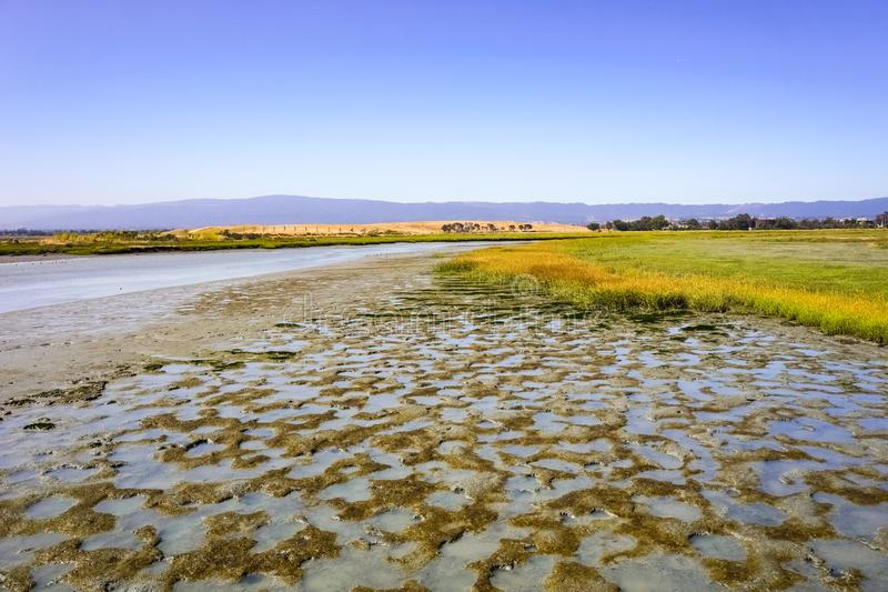 Marsh Landscape in Baylands Park view towards Byxbee park, Palo Alto, San Francisco bay area, California stock image