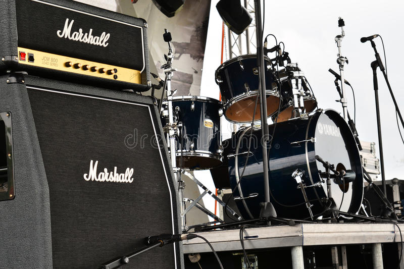 Marshall amps. GARNIC, ROMANIA - MAY 3, 2014: Marshall amplifiers on stage at Garnic festival, May 3rd, 2014 stock image