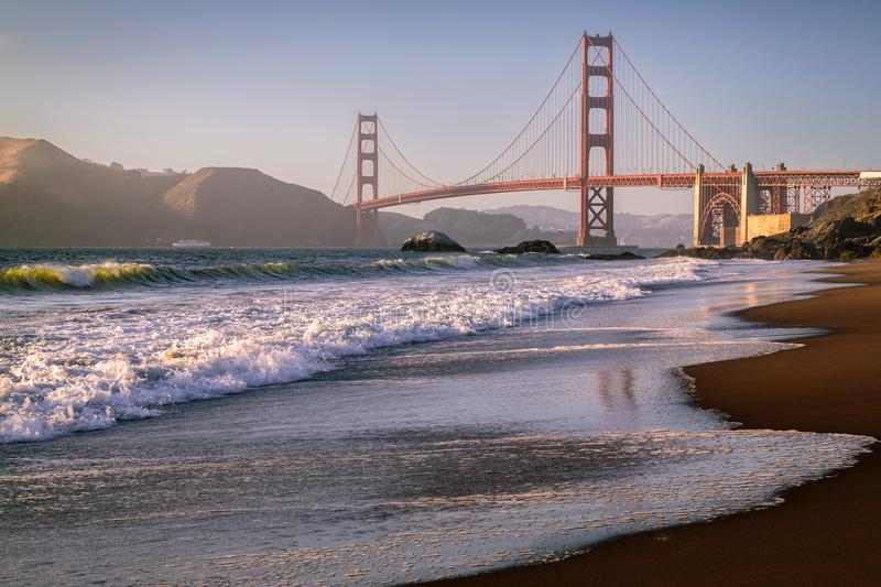 Marshall Beach Waves, golden gate bridge images stock