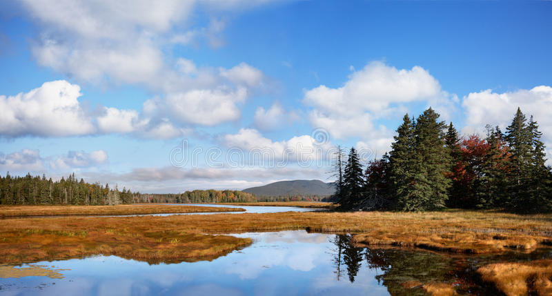 Marshall Brook Panorama. A Panoramic View Of The Marsh Land Surrounding The Marshall Brook, A Winding Waterway, Also Called Bass Harbor Marsh At Acadia National stock images