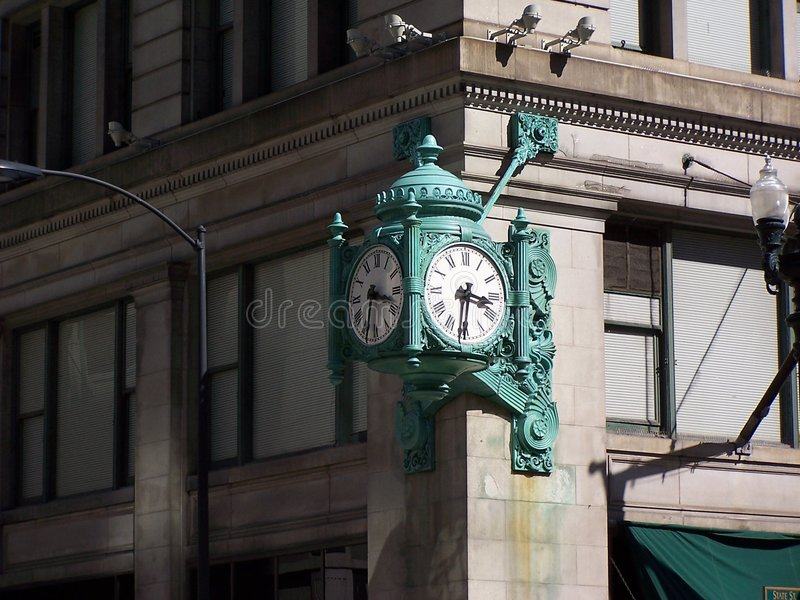 Marshall Field's Clock, Chicago. The great clock was installed on the State Street corner of Marshall Fields on Nov. 26, 1897 in downtown Chicago royalty free stock photos