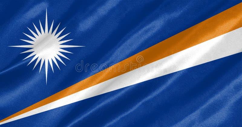 Marshall Islands Flag. With waving on satin texture stock photo
