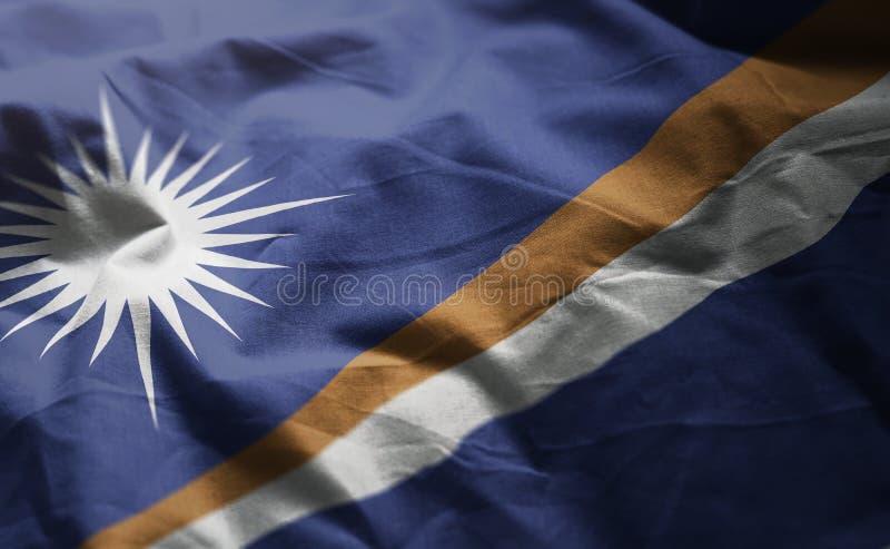 Marshall Islands Flag Rumpled Close para arriba imágenes de archivo libres de regalías