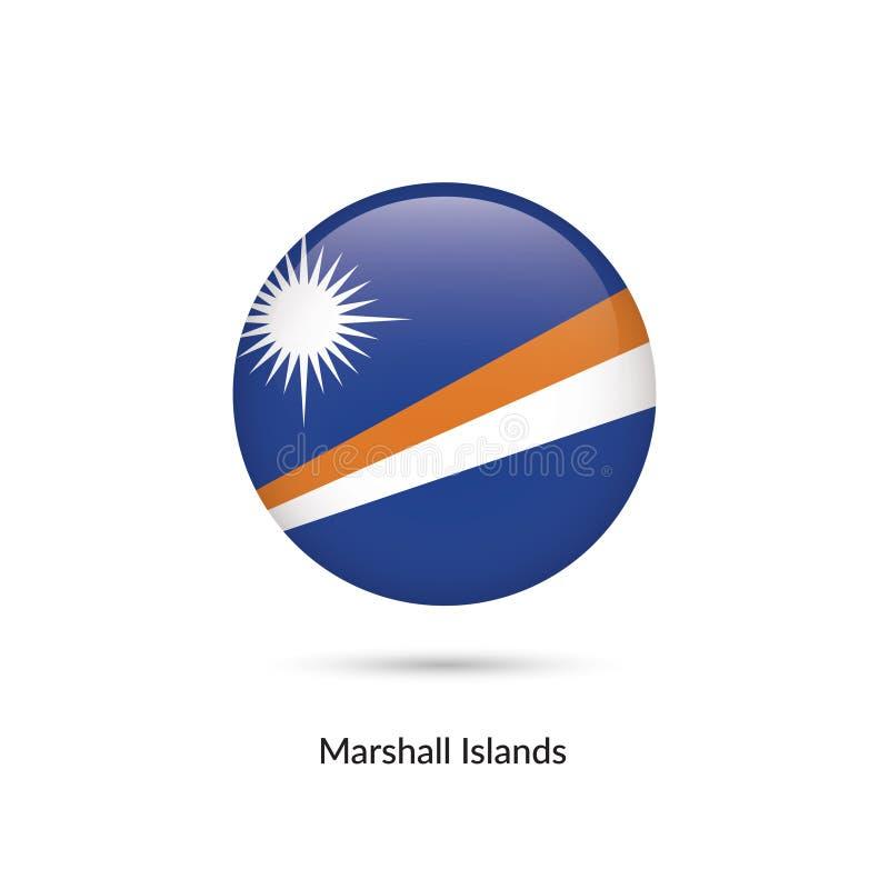 Marshall Islands flagga - rund glansig knapp vektor illustrationer