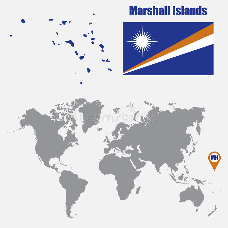 Marshall Islands Map On A World Map With Flag And Map Pointer