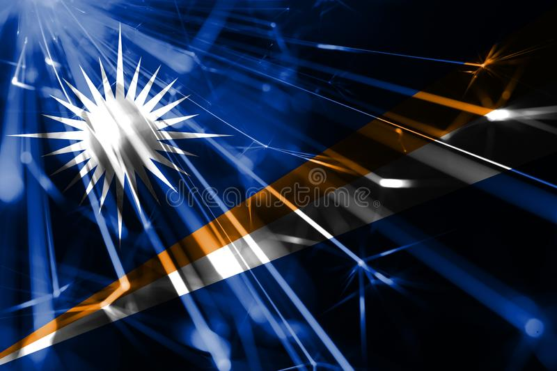 Marshall Islands shining fireworks sparkling flag. New Year 2019 and Christmas futuristic shiny party concept flag. Marshall Islands shining fireworks sparkling stock illustration
