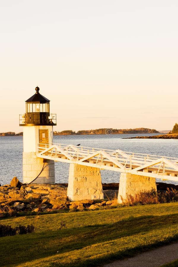 Marshall Point Lighthouse, Maine, USA. Outdoor, outdoors, outside, exterior, exteriors, america, north, united, states, new, england, port, clyde, architecture stock photos