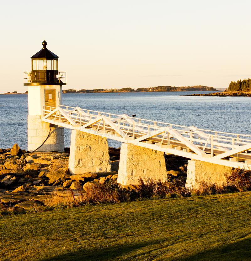 Marshall Point Lighthouse, Maine, USA. Outdoor, outdoors, outside, exterior, exteriors, america, north, united, states, new, england, port, clyde, architecture royalty free stock photo