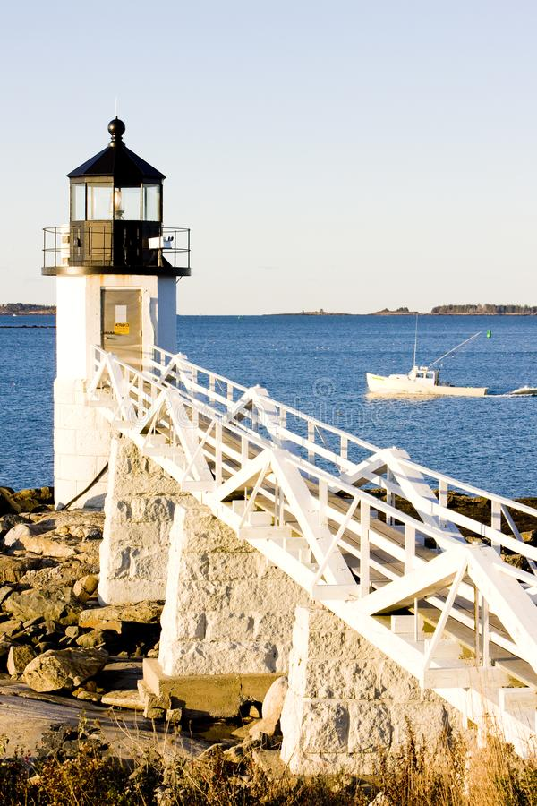 Marshall Point Lighthouse, Maine, USA. Outdoor, outdoors, outside, exterior, exteriors, america, north, united, states, new, england, port, clyde, architecture royalty free stock photos