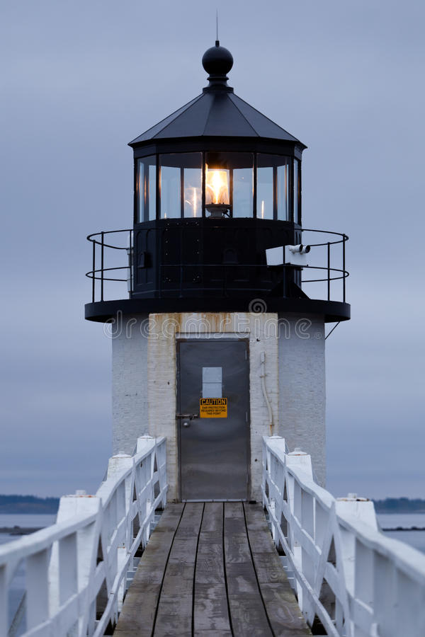 Marshall Point Lighthouse, Maine, USA. Detail of Marshall Point Lighthouse in the evening, Maine, USA stock photo
