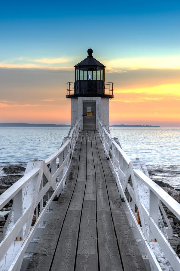 Marshall Point Lighthouse Walkway. Port Clyde, Maine, USA stock photography
