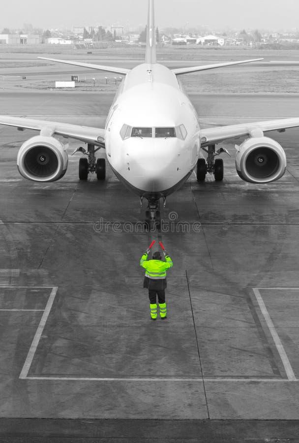 Marshaller de los aviones imagen de archivo