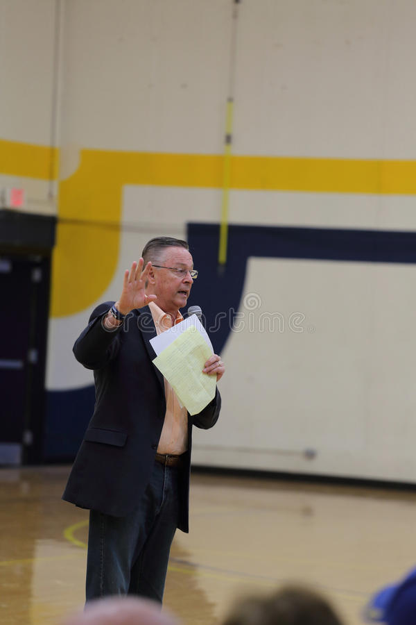 Marshalltown, Iowa, USA. May 11, 2017. Rod Blum town hall. Republican Representative Rod Blum of Iowa`s First Congressional District speaks at a town hall at royalty free stock photos