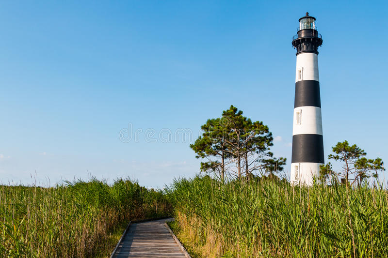 Marshland With Wooden Boardwalk to Bodie Island Lighthouse royalty free stock photos