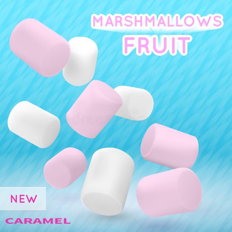 Marshmallow άσπρο και ρόδινο επάνω σε ένα μπλε υπόβαθρο Καλή διανυσματική απεικόνιση για τη συσκευασία απεικόνιση αποθεμάτων