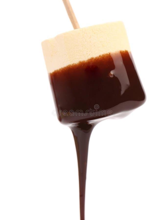 Marshmallow με το στάλαγμα σοκολάτας. στοκ εικόνες