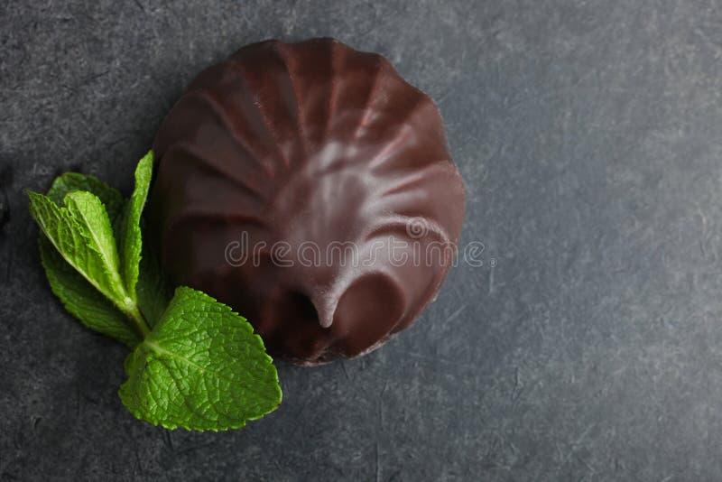 Marshmallow στη σοκολάτα και τη μέντα στοκ εικόνα με δικαίωμα ελεύθερης χρήσης