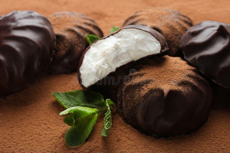 Marshmallow στη σοκολάτα και τη μέντα στοκ φωτογραφία