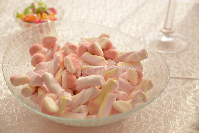 Marshmallow. birthday party sweets stock photos