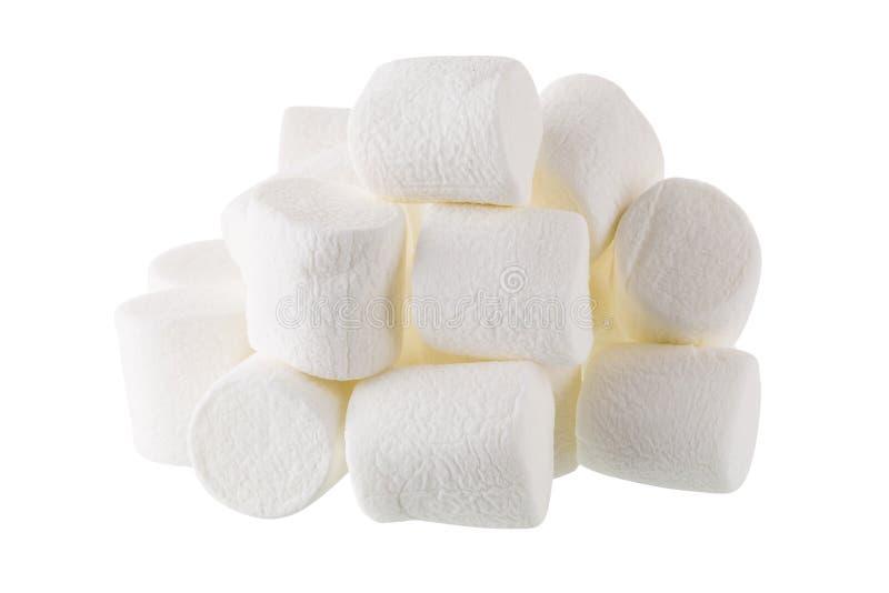 Marshmallow branco macio isolado no fundo branco imagem de stock