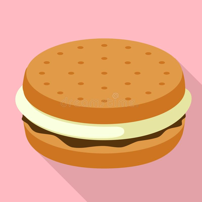 Marshmallow burger εικονίδιο, επίπεδο ύφος ελεύθερη απεικόνιση δικαιώματος
