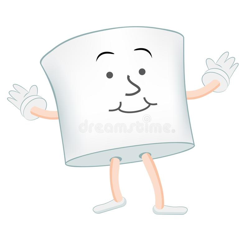 Marshmallow Cartoon Character Isolated on White royalty free illustration