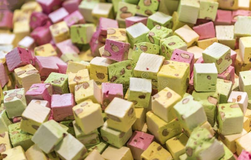 Marshmallow at Fiera Milano. Traditional sweets on sale at Fiera Milano. Italy stock photos