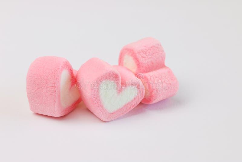 Marshmallow i hjärtaform för förälskelse arkivfoto