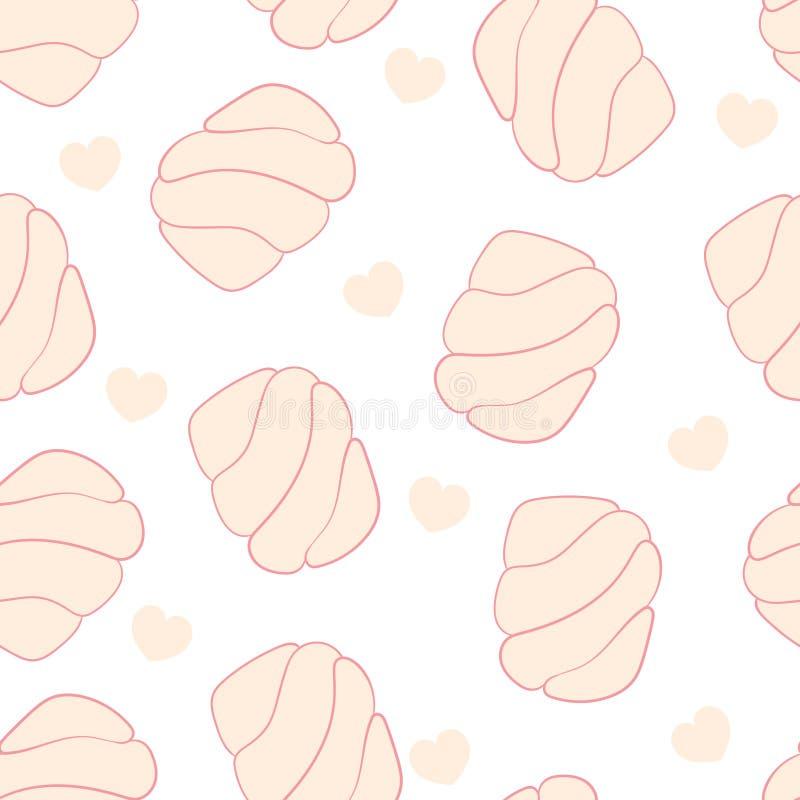 Marshmallow i serce menchii koloru wzór ilustracji