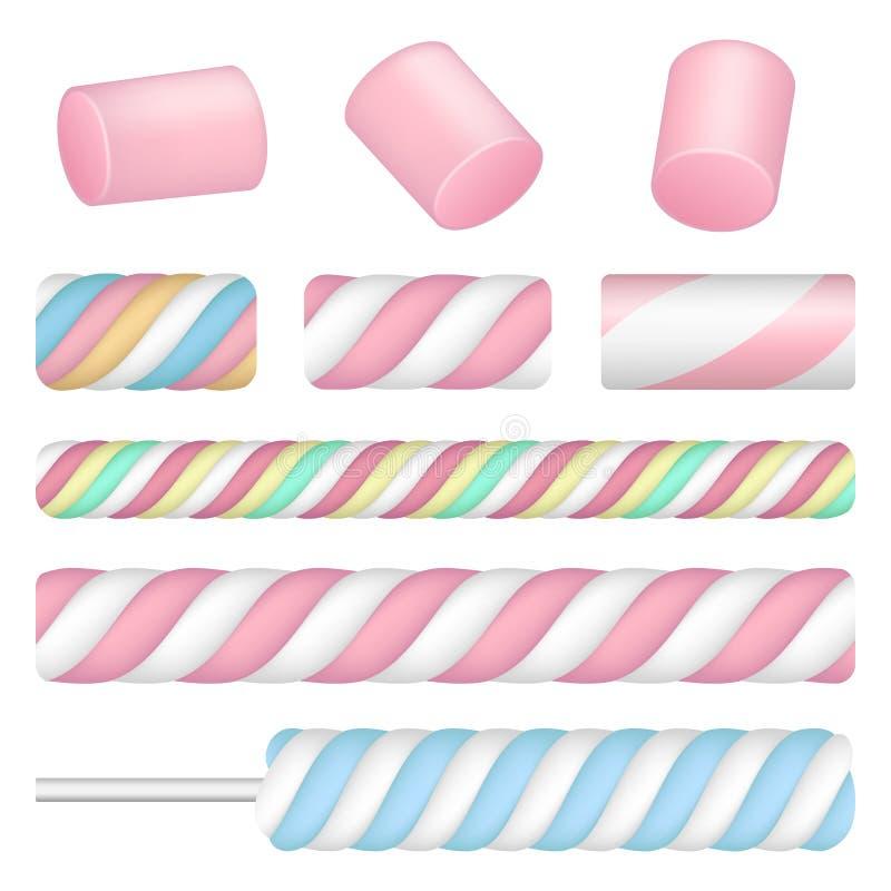 Marshmallow ikony set, realistyczny styl ilustracji