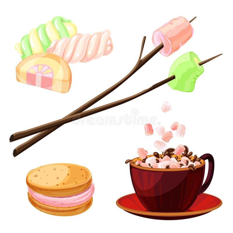 Marshmallow ikony ustawiać, kreskówka styl ilustracji