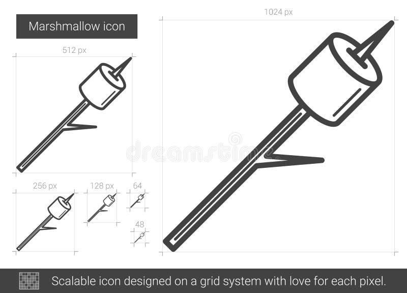 Marshmallow kreskowa ikona ilustracji