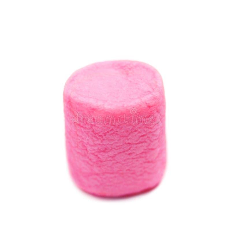 Marshmallow makro- odosobniony nadmierny biały tło Różowy kolor w ten sposób zdjęcie royalty free