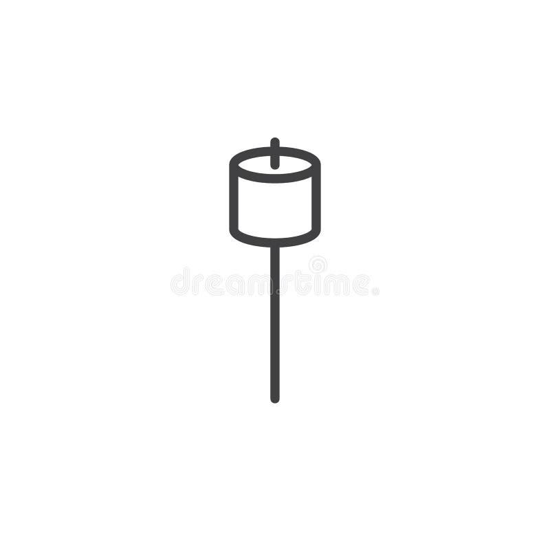 Marshmallow na kij linii ikonie ilustracja wektor
