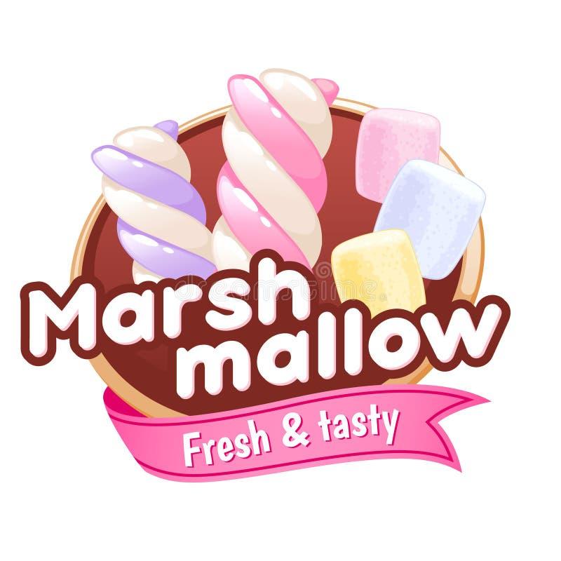 Marshmallow odznaka lub ilustracja wektor